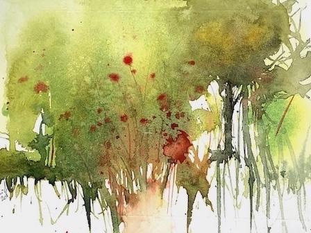 alte weiden an der saale aquarell